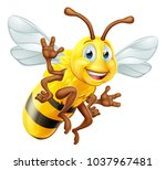 a honey bee bumblebee cute... | Shutterstock .eps vector #1037967481