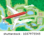 airplane flies above land with... | Shutterstock .eps vector #1037975545