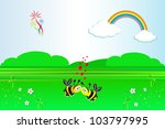 fairytale landscape with bees...   Shutterstock .eps vector #103797995