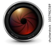 camera photo lens with shutter  ... | Shutterstock .eps vector #1037982589