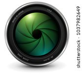 camera photo lens with shutter  ...   Shutterstock .eps vector #1037982649