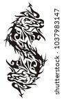 monster horse tribal double...   Shutterstock .eps vector #1037983147