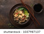 asian vegan noodle soup with... | Shutterstock . vector #1037987137