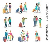 travelling people isometric 3d... | Shutterstock .eps vector #1037989894