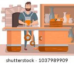 pottery workshop poster in... | Shutterstock .eps vector #1037989909