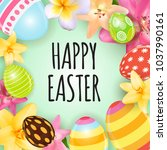 happy easter cute background... | Shutterstock . vector #1037990161