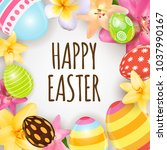 happy easter cute background... | Shutterstock . vector #1037990167