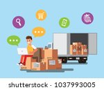 happy  selling products online.... | Shutterstock .eps vector #1037993005