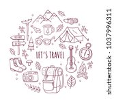 set of hand drawn sketch travel ... | Shutterstock .eps vector #1037996311