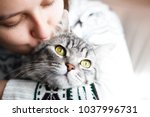 Stock photo woman at home holding her lovely fluffy cat gray tabby cute kitten pets and lifestyle concept 1037996731