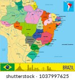 political map of brazil with... | Shutterstock .eps vector #1037997625