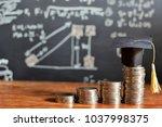 hat graduation model on coins...   Shutterstock . vector #1037998375