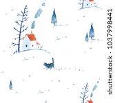 seamless watercolor pattern... | Shutterstock . vector #1037998441