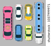 top view colorful car toys... | Shutterstock .eps vector #1037999971