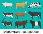 vector bulls and cows farm... | Shutterstock .eps vector #1038000001