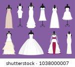 wedding bride white dresses... | Shutterstock .eps vector #1038000007