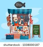 fish shop vector kiosk street... | Shutterstock .eps vector #1038000187