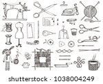 set of sewing tools and... | Shutterstock .eps vector #1038004249
