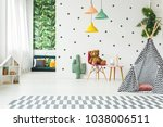 creative playroom interior... | Shutterstock . vector #1038006511