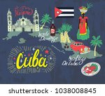 illustrated tourist map of cuba.... | Shutterstock .eps vector #1038008845