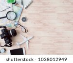 top view travel concept with...   Shutterstock . vector #1038012949