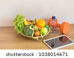 healthy eating with workout and ... | Shutterstock . vector #1038014671
