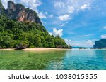 a sunny day in the tropics  a...   Shutterstock . vector #1038015355