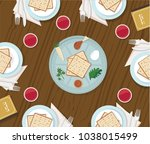 traditional passover table with ... | Shutterstock .eps vector #1038015499