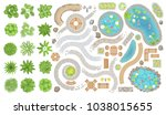 set of park elements.  top view ... | Shutterstock .eps vector #1038015655