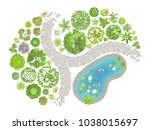 vector illustration. landscape... | Shutterstock .eps vector #1038015697