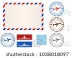 set of postal elements  ... | Shutterstock . vector #1038018097