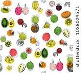 tropical fruits vector seamless ... | Shutterstock .eps vector #1038024571