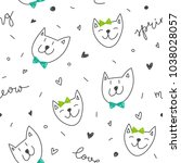 hand drawn spring cats pattern  ... | Shutterstock .eps vector #1038028057