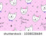 cats in love  vector seamless... | Shutterstock .eps vector #1038028684