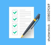 checklist icon. document with... | Shutterstock .eps vector #1038029269