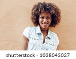 young black woman  afro... | Shutterstock . vector #1038043027