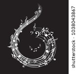 music note background with... | Shutterstock .eps vector #1038043867