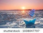 frozen ice waves with paper...   Shutterstock . vector #1038047707