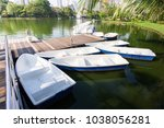 renting boat for rowing in... | Shutterstock . vector #1038056281
