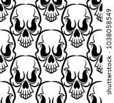 vintage skulls pattern.... | Shutterstock .eps vector #1038058549