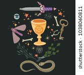 witch magic rite objects.... | Shutterstock .eps vector #1038060811