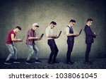 young man with laptop computer...   Shutterstock . vector #1038061045
