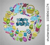 colorful vector of easter... | Shutterstock .eps vector #1038061174