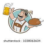 bavarian man with beer and... | Shutterstock .eps vector #1038063634