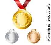gold  silver and bronze medals... | Shutterstock .eps vector #1038066241