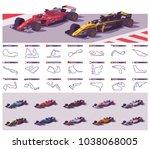 vector motor racing tracks... | Shutterstock .eps vector #1038068005