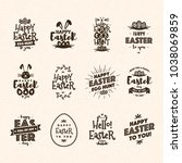 easter emblem set brown color... | Shutterstock .eps vector #1038069859