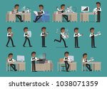 set. businessman working with... | Shutterstock .eps vector #1038071359