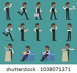 set. businessman in different... | Shutterstock .eps vector #1038071371