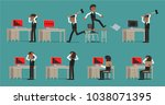 set. a businessman is shocked... | Shutterstock .eps vector #1038071395